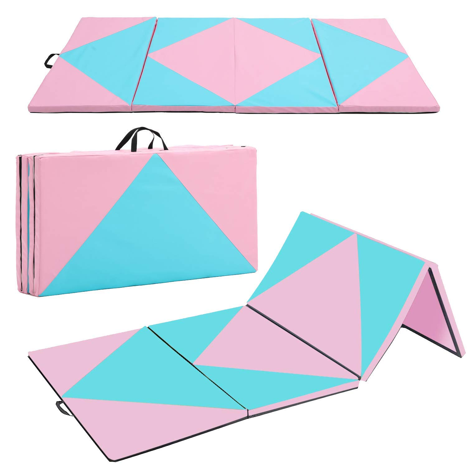 Outroad Gymnastics Mat Thick Folding with Carrying Handles Exercise Mat Training Bar Adjustable Height Gym Exercise Aerobics Mats Stretching Fitness