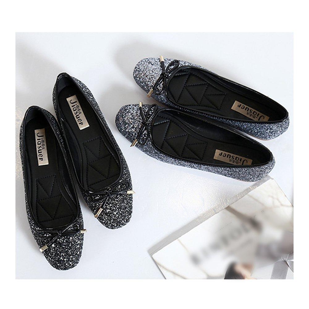 Metal Paillette Dazzling Bowknot Square Flat Thin Shoes Black