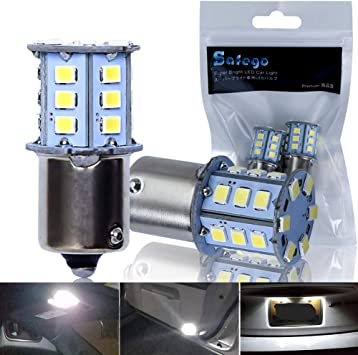 1156 BA15S LED Bulb SAFEGO 2Pcs 6000K 12V Front Turn Signal Backup Light 24 SMD 2835 Xenon White P21W Replacement Lamp,1 Year Warranty