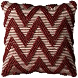 Rizzy Home PILT1082737702020 Nubby Cotton Red Chevron Texture Decorative Pillow,Red
