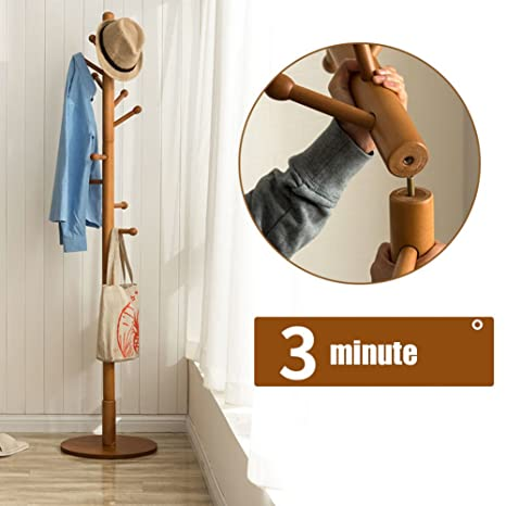 SWEET&HONEY Cloth hanger rack stand Tree hat hanger holder Free standing Solid wood coat rack Floor hanger For bedroom Living room Hall-10-hooks-Q ...