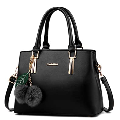 5d643b7aae Dreubea Women s Leather Handbag Tote Shoulder Bag Crossbody Purse Black