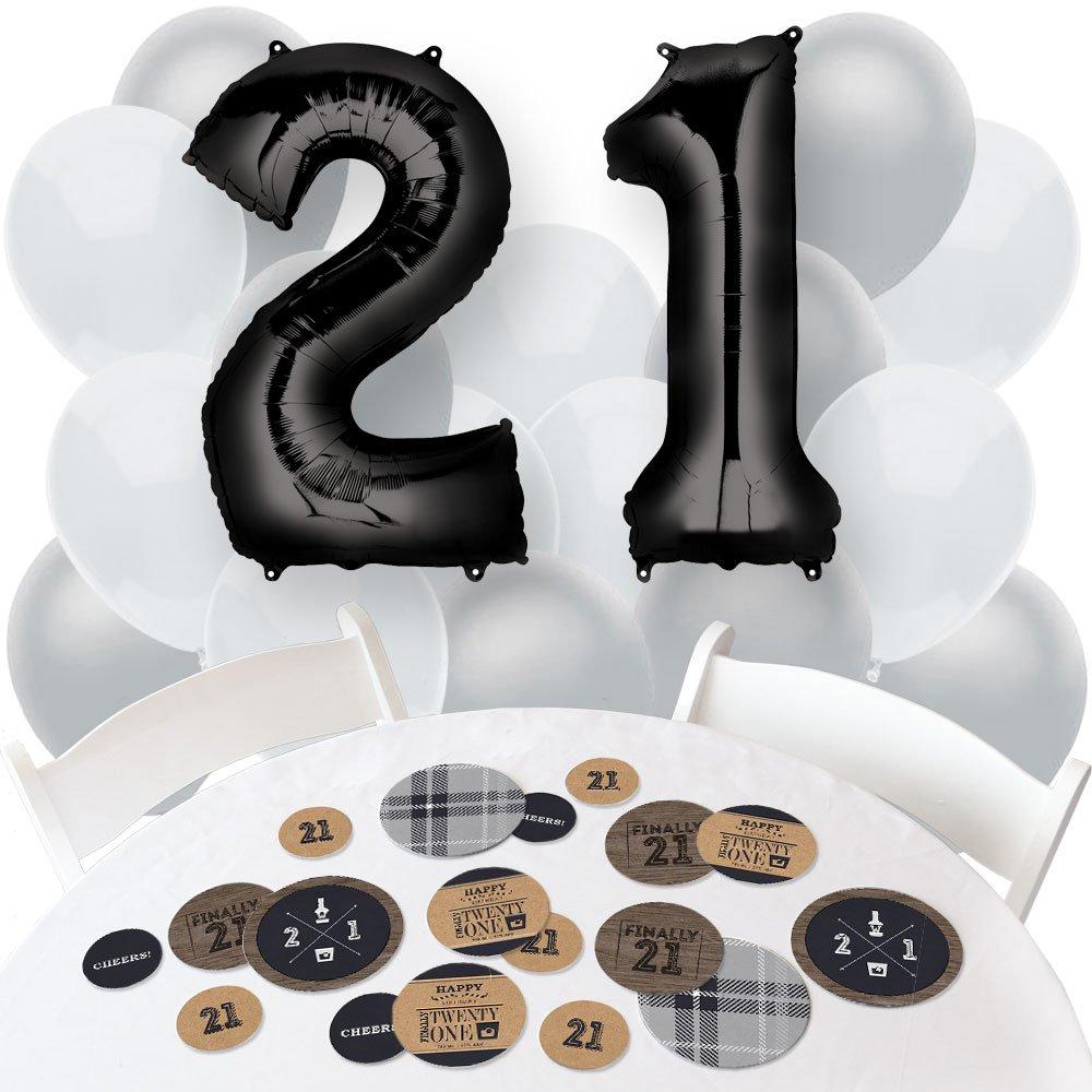 Finally 21 - Confetti and Balloon 21st Birthday Party Decorations - Combo Kit