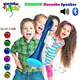 KOMVOX Portable Microphone Wireless Karaoke Speaker with Bluetooth Player Connecting to IPhone or Samsung Smartphone for Kids Gift and Family Party (Blue)