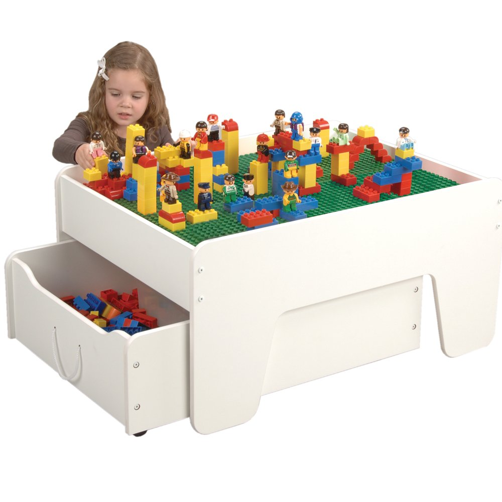 Amazon Com Cp Toys Activity Table With Trundle Drawer For Preschool Building Bricks Toys Games
