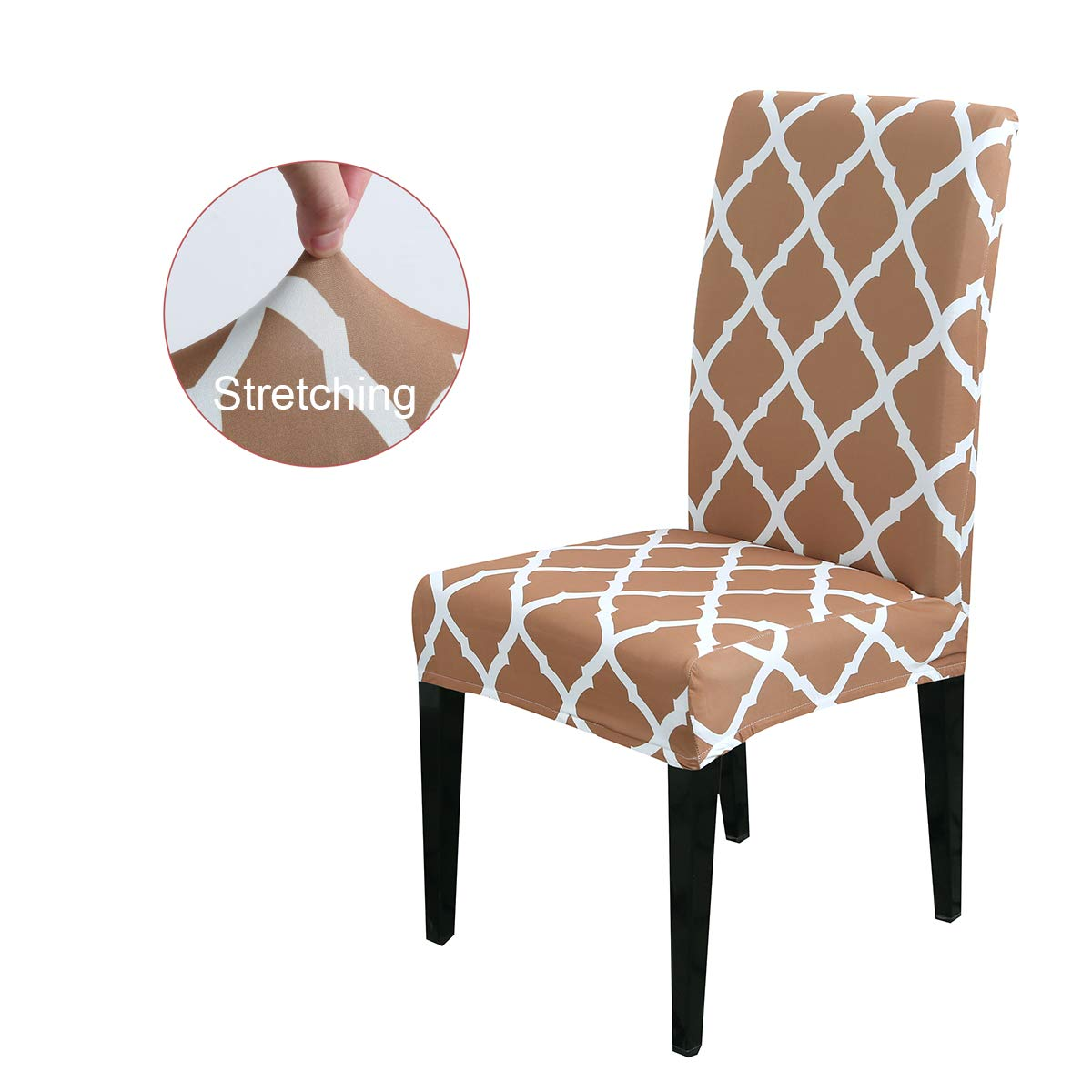 Black,Set of 4 Elastic Spandex Pu Chair Slipcover Covers for Dining Room,Solid Leather Waterproof and Oilproof Stretch Chair Protctor Cover for Hotel and Family Dining Room Decoration