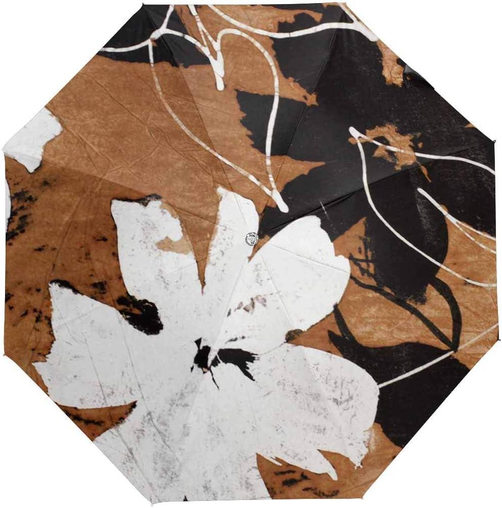 InterestPrint Custom Grunge Black Leaves Anti Sun UV Foldable Travel Compact Umbrella