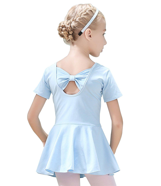 Rainlover Girl's Classic Short Sleeve Gymnastics Dance Leotard Back Bowknot Dress