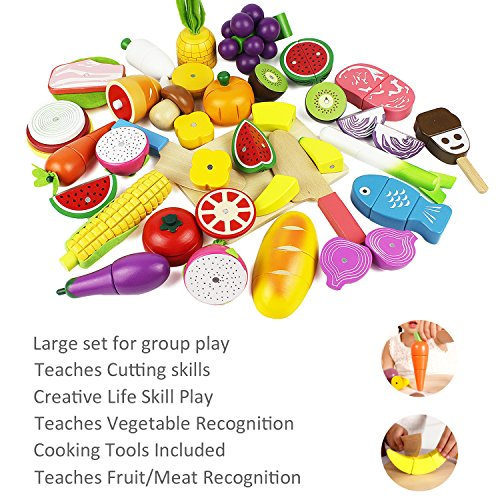 Cutting cooking set wooden pretend play food kitchen kids for Kitchen set for 9 year old