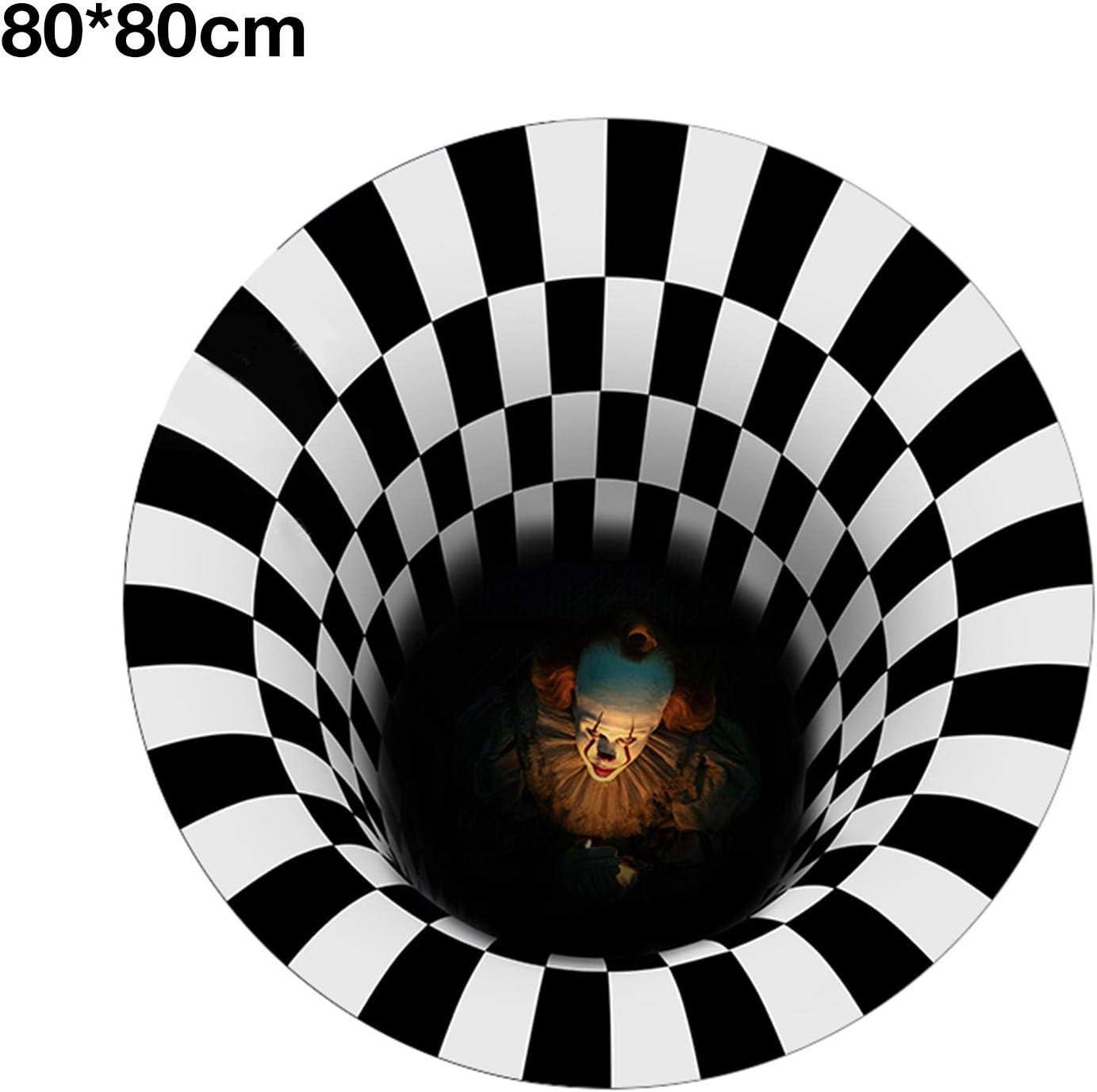 rutschfeste T/ürdekorations-Fu/ßmatte f/ür Wohnzimmer runder Vortex-Illusionsteppich Lustiger Horror der Halloween-Fu/ßmatte Schwarzweiss-Teppiche lustiger optischer 3D-Illusionsteppich