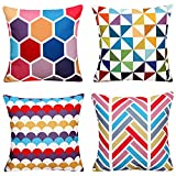 WOMHOPE 4 Pack - [Just Covers] 18 x 18 Inch Colorful Geometric Cotton Linen Square Throw Pillow Covers Decorative Cushion Covers Pillowcase Cushion Case for Sofa,Bed (C (Set of 4))