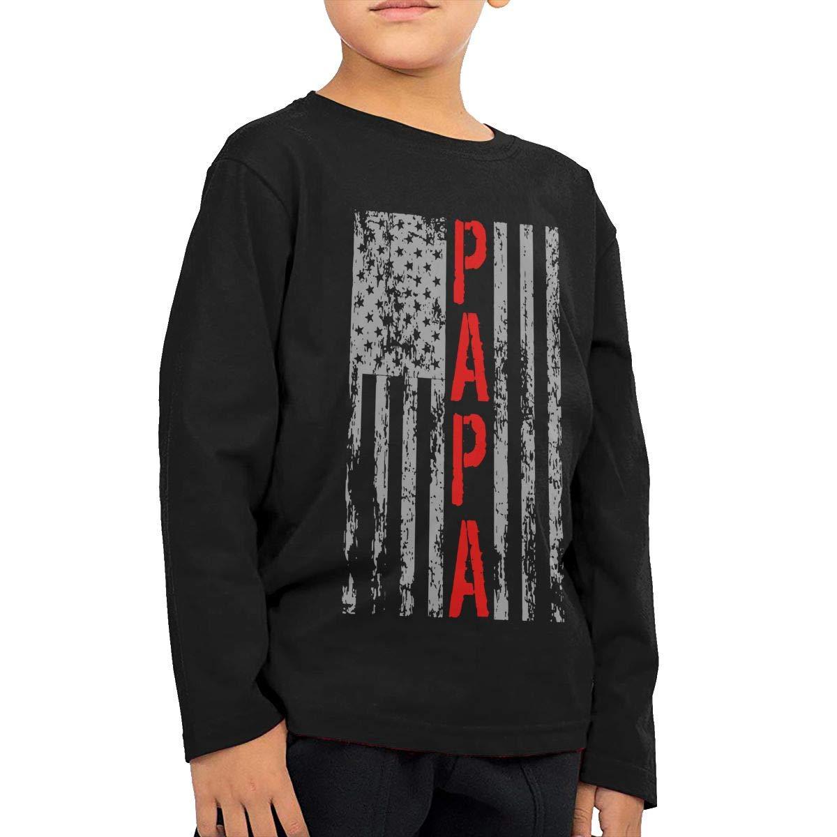 Baby Girls Childrens USA PAPA Retro Vintage Flag Printed Long Sleeve 100/% Cotton Infants T-Shirts
