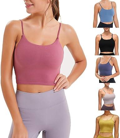 Women/'s Sports Bra Leisure Soft Stretch Padded Tank Crop Top Gym Yoga S-3Xl Size