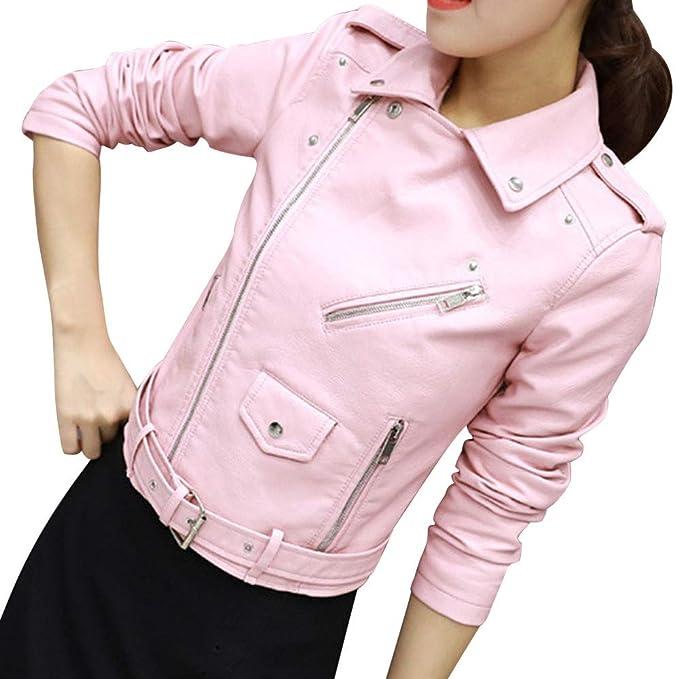 Toimoth Womens Ladies Retro Rivet Zipper Up Bomber Jacket Casual Coat  Outwear Celerance(PinkC 890d223fb