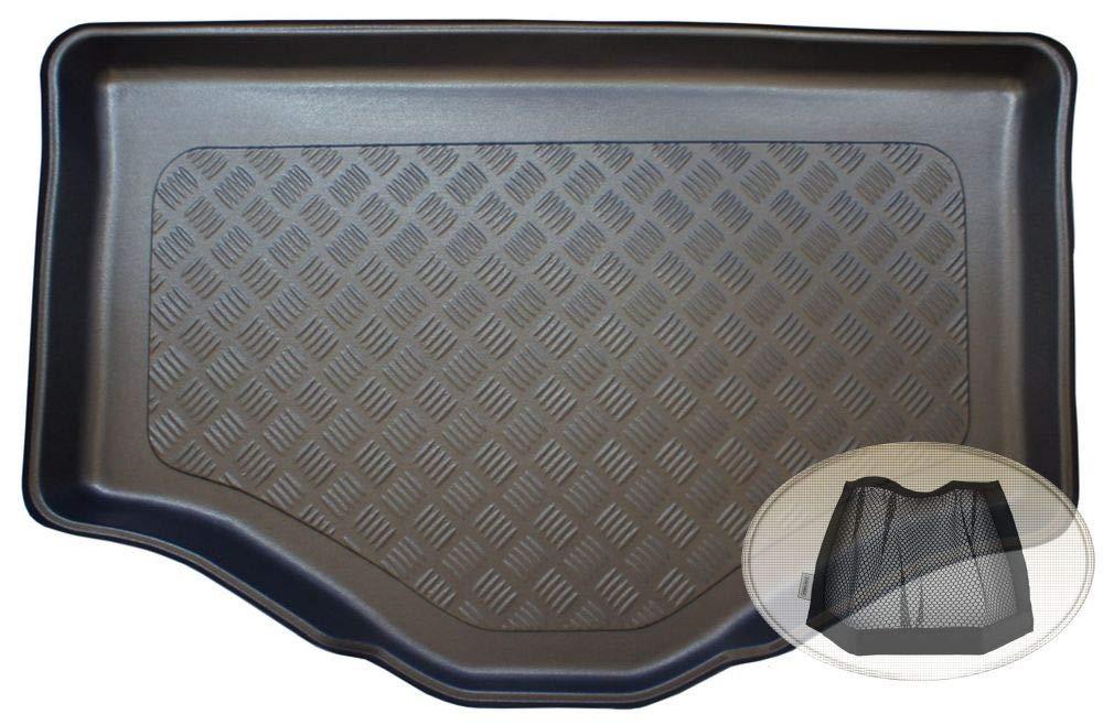 ZentimeX Z3338506 Geriffelte Kofferraumwanne fahrzeugspezifisch + Klett-Organizer (Laderaumwanne, Kofferraummatte)