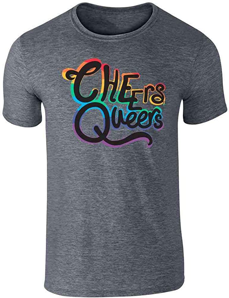 Cheers Queers LGBTQ Gay Pride Rainbow Funny Dark Heather Gray L Graphic Tee T-Shirt for Men