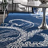 "nuLOOM Octopus Tail Abstract Wool Runner Rug, 2' 6"" x 8', Midnight Blue"