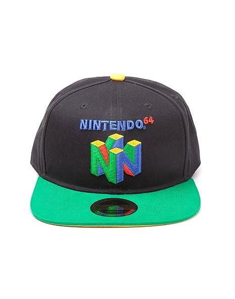70a7b970 Amazon.com: Nintendo Original N64 Logo Snapback Baseball Cap, One Size |  Multi-Colour: Clothing