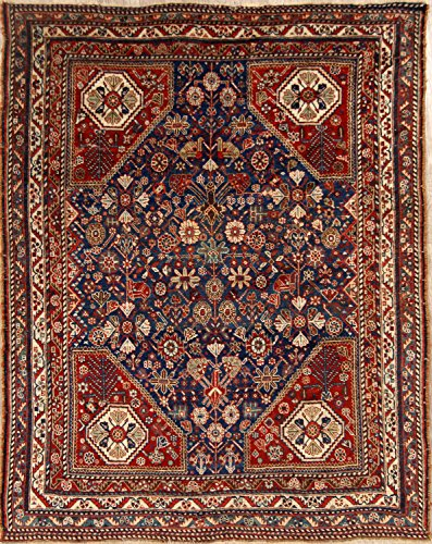 Pre-1900 Shiraz Qashqai Antique Hand Made Persian Area Rug (6' 1'' X 4' 8'')