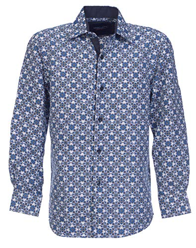 Suslo Couture Boys Button Front Long Sleeve Shirt (Royal, 14)