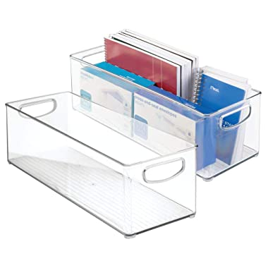 mDesign Large Stackable Plastic Storage Bin Container, Home Office Desk and Drawer Organizer Tote with Handles - Holds Gel Pens, Erasers, Tape, Pens, Pencils, Markers - 16  Long, 2 Pack - Clear