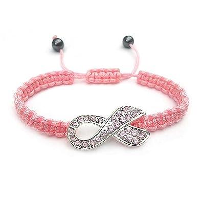 Bling Jewelry Rosa Kristall Brustkrebs-Bewußtsein Ribbon geflochtene Schnur  verstellbare Armband Versilberte Legierung d543ebe0c6f56