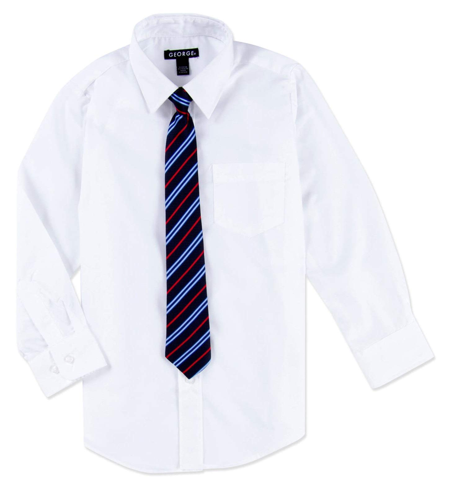 George Boys Button Front Long-Sleeve Premium Dress Shirt with Clip-On Tie Set (Arctic White) (Large (L, 10-12))