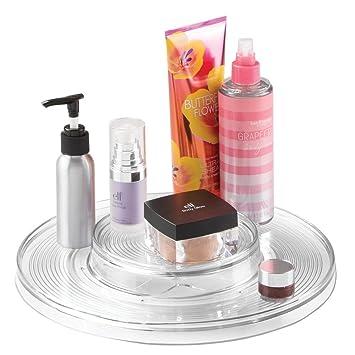 mDesign – Organizador de cosméticos – Práctica bandeja giratoria para pintauñas, polvos y otros productos