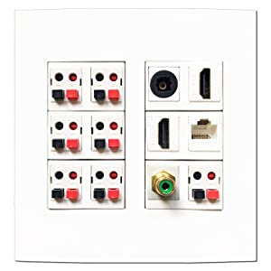 diyTech Premium Speaker Wall Plate, 7 Speaker, 2 HDMI, 1 Optical Toslink, 1 Cat 6 Ethernet, 1 RCA Subwoofer, Supports 5.1 and 7.1 Speaker Configurations, 2 Gang Screwless - White