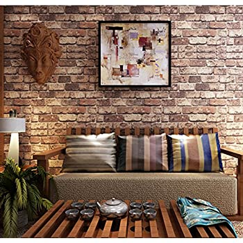 Blooming Wall Cultural Faux Rustic Tuscan Brick Wallpaper 3d For Walls Paper Roll 208 In328 Ft57 Sqftred