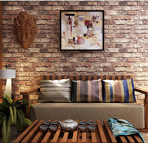 Red Faux Brick Wallpaper - Blooming Wall: Cultural Faux Rustic Tuscan Brick Wall Wallpaper 3d for Walls Wall Paper Roll, 20.8 In32.8 Ft=57 Sq.ft,red