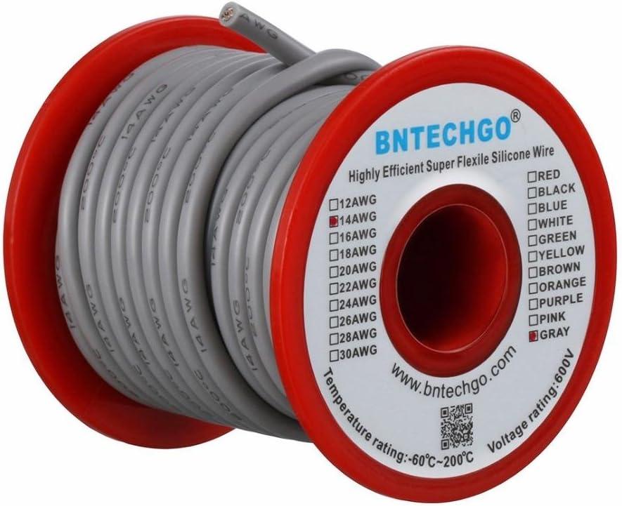 Bntechgo Calibre 14/C/âble silicone/ /Souple et r/ésistant aux temp/ératures /élev/ées tr/ès efficace 14/AWG Fil de silicone 400/brins de fil de cuivre