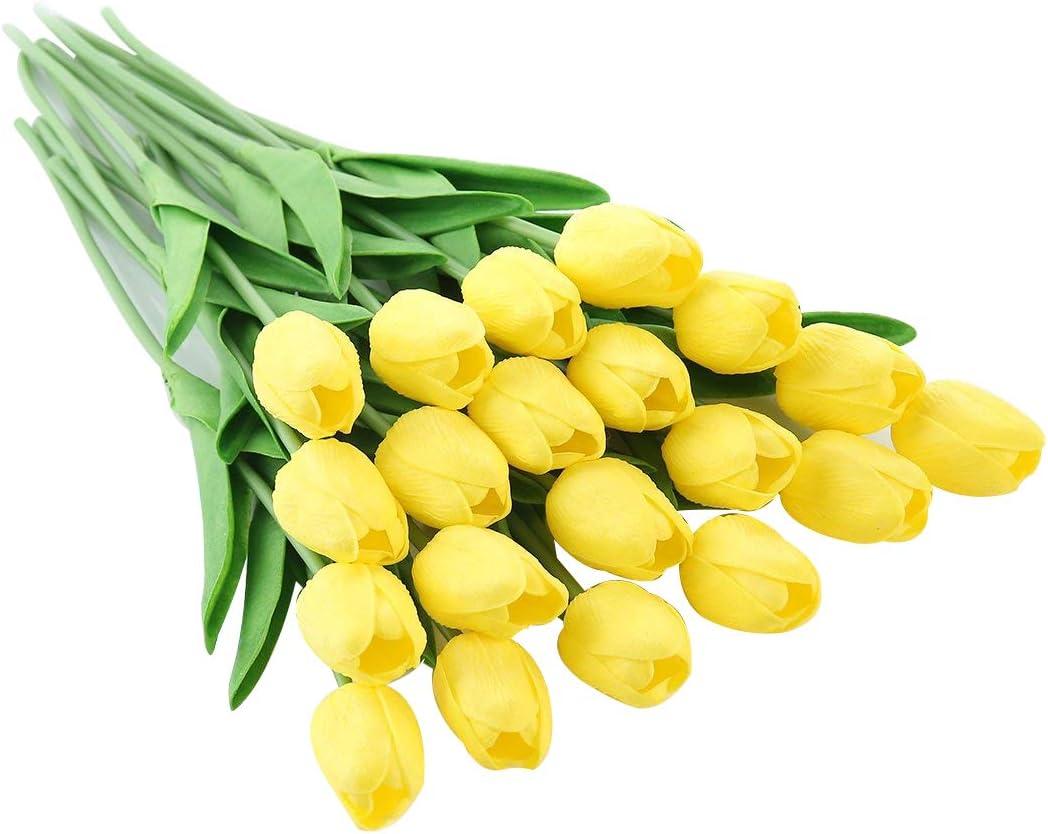 Pink-10 id/éales pour Les Bouquets de Mariage ou la d/écoration de la Maison et du Jardin JUSTOYOU Lot de Tulipes artificielles en Latex au Toucher r/éaliste 10 pi/èces