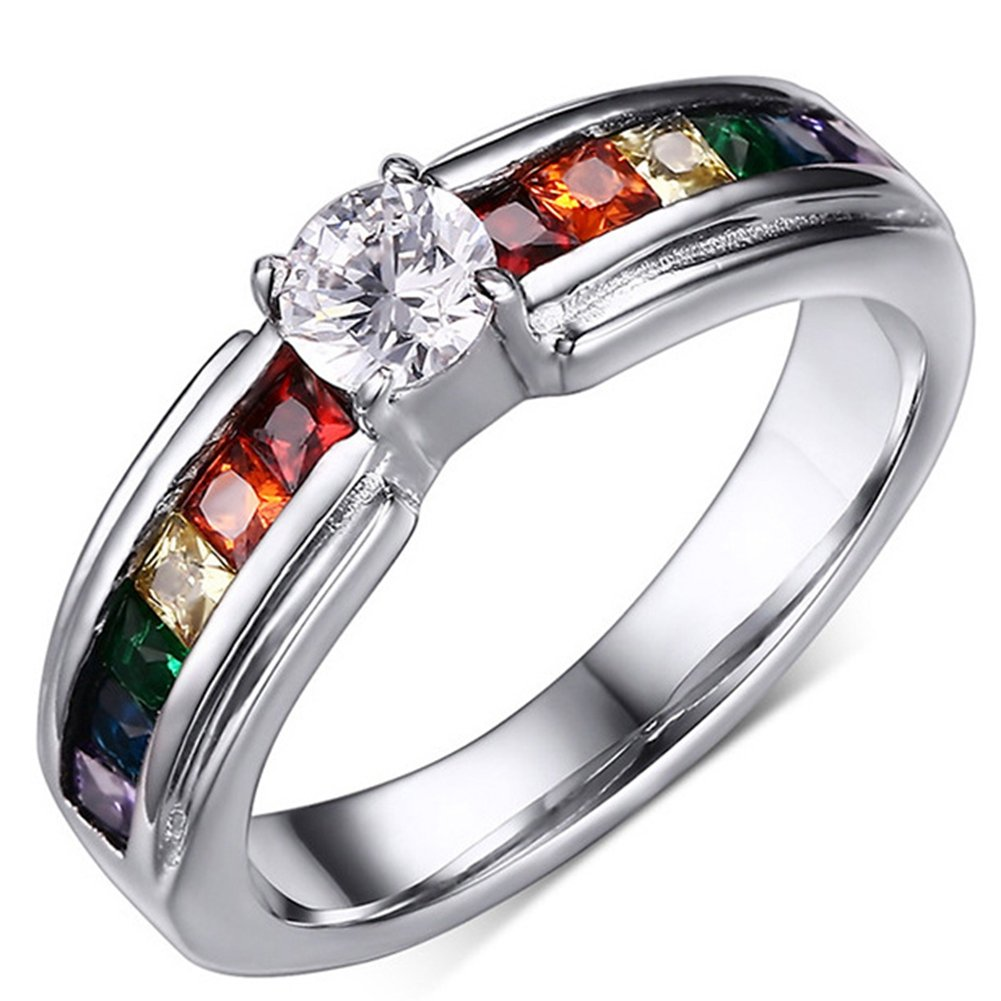 e14b69992e06 SAINTHERO True Love Rainbow Wedding Engagement Rings Elegant Titanium  Stainless Steel CZ Lesbian Solitaire Promise Rings for Her Size  5-11