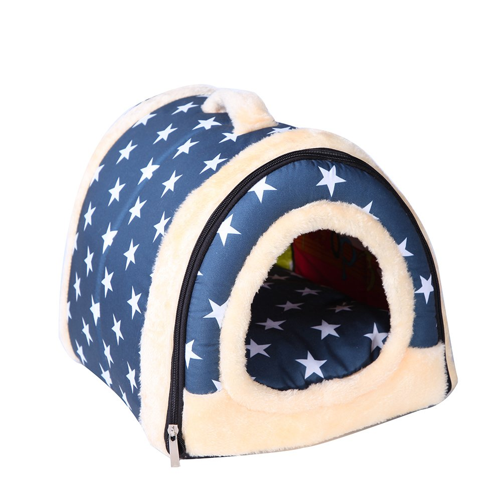 Saymequeen Foldable Cave Nest Cat Dog Indoor House Dog Bed Puppy Portable Bed (L 60x45x45cm 23.6x17.7x17.7 inch, bluee)