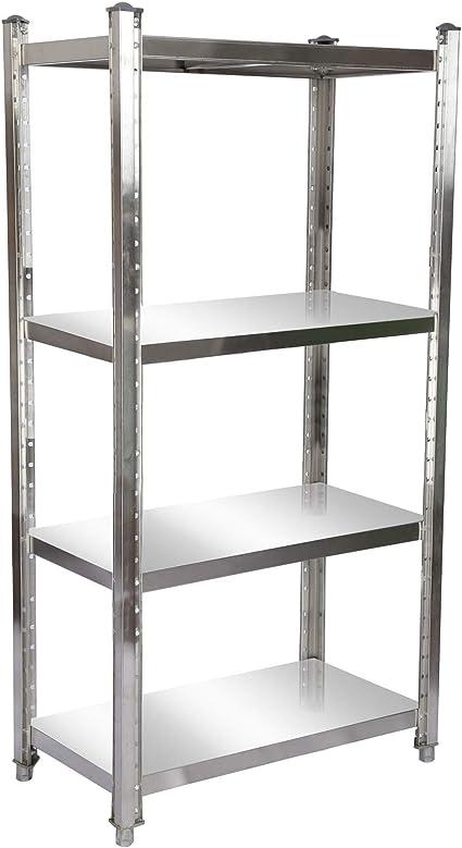 Estantería de acero inoxidable 90x50x155cm con 4 baldas para ...