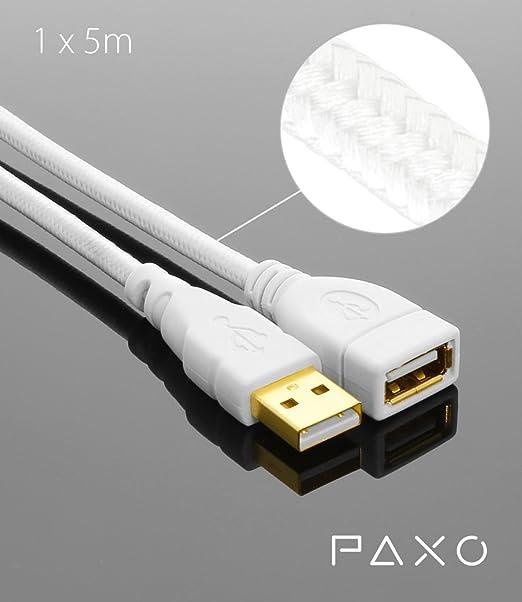 12 opinioni per 5m PAXO cavo prolunga USB A-A, connettori placcati oro, cavo intrecciato, colore