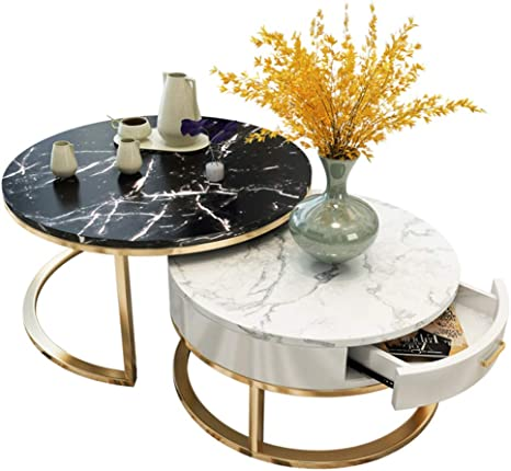Zrxian Coffee Tables Stackable Coffee Table With Drawer Storage Set Of 2 Round Tables Living Room Side Tables Black White Marble Desk Set Table Amazon De Kuche Haushalt