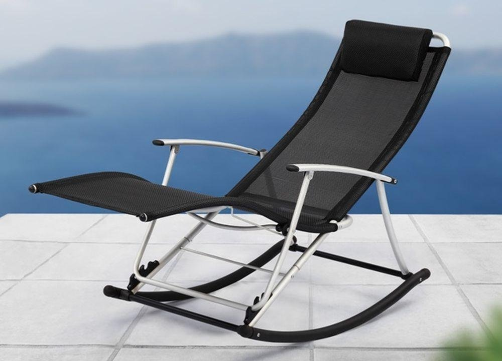 Outdoor Indoor Relaxing Rocking Chair with Footrest Folding Textoline Sun Lounger Recliner - INTERHOME© & Outdoor Indoor Relaxing Rocking Chair with Footrest Folding ...