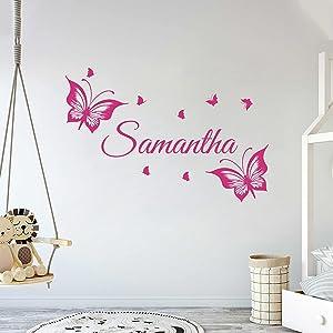 Multiple Font Custom Name Cute Butterflies - Baby Girl - Wall Decal Nursery for Home Bedroom Children(MM16V2)