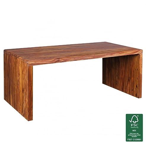 Schreibtisch design holz  FineBuy Schreibtisch Massiv-Holz Sheesham Computertisch 180 cm ...