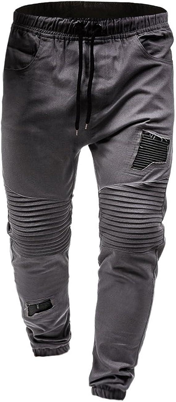VPASS Pantalones para Hombre, Cintura Ajustable por Cordón y ...