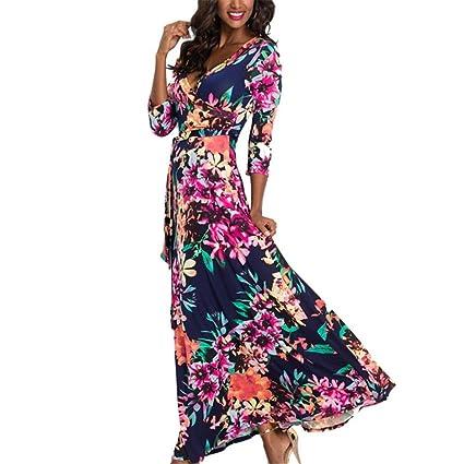 7fc231fb2b0 Amazon.com  KFSO Women s Long Sleeve V-Neck Button up Split Floral Print  Flowy Party Maxi Dress (Navy B