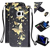 Amocase Strap Leather Case with 2 in 1 Stylus for Galaxy S7,Colorful Printed Premium Magnetic Wallet PU Leather Stand Shockproof Card Slot Case for Samsung Galaxy S7 - Gold Butterfly