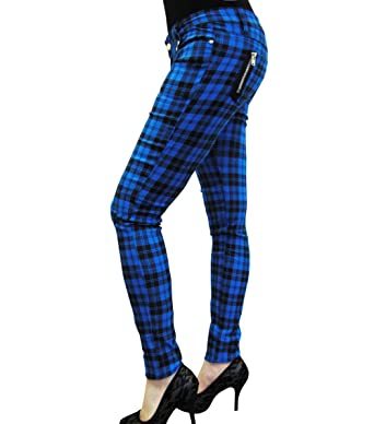 47315b725a5 Banned CLOTHING Punk Goth SKINNY JEANS Tartan BLUE Zips  Amazon.co.uk   Clothing
