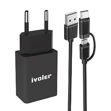 ivoler Mini Cargador USB Portátil de Pared (12W / 2.4A) con 2 en 1 ...