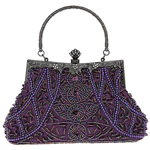Bead Handbags Belsen Sequin Women's Evening Purple Vintage FFqEp