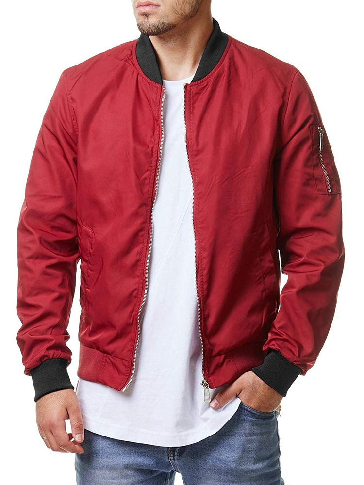 Mens Bomber Jacket Full Zip Fall Slim Fit Lightweight Pilot Sport Hip Hop Varsity Plain Flight Jackets Coats Red by Runcati