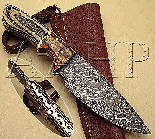 - AAHP - 83, 9.25 Inches Handmade Damascus Skinner Knife with Approx 4.75 inch Blade Made of 100% Real Damascus Steel, Approx 4.5 inch up of Pakka Wood with Brass Pins & Pipe
