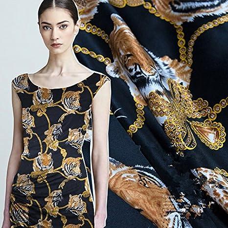 100% Seda crepé tela de raso Natural y pura de seda vestido falda ...
